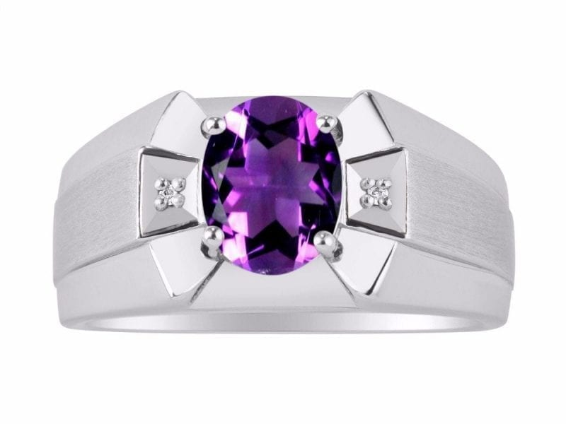 Birthstone Ring Sterling Silver or Yellow Gold Plated Silver Amethyst /& Diamond Ring